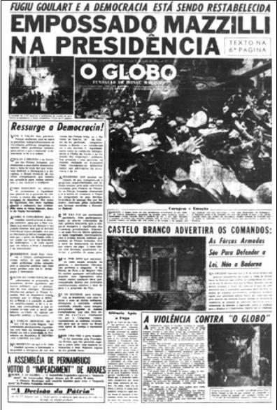 """Jornal """"O Globo"""" de 2 de Abril de 1964"""